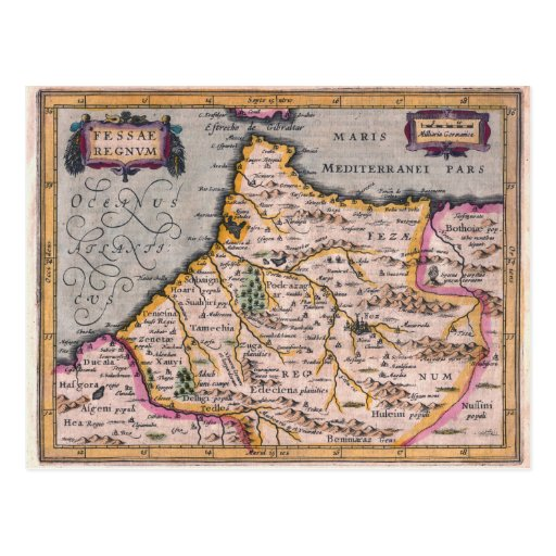Reino de Fes - mapa antiguo de la postal de Marrue