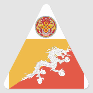 Reino de la bandera de Bhután, fuego del dragón Pegatina Triangular