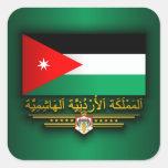 Reino de la bandera de Jordania (árabe) Calcomanía Cuadradas Personalizada