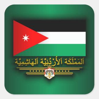 Reino de la bandera de Jordania (árabe) Pegatina Cuadrada