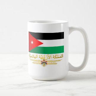 Reino de la bandera de Jordania (árabe) Taza Básica Blanca