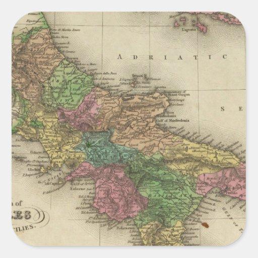 Reino de Nápoles o los dos Sicilies 2 Pegatina Cuadrada
