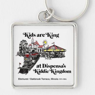 Reino del Kiddie de Dispensa, terraza de Oak Brook Llavero Cuadrado Plateado