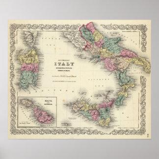 Reino meridional de Italia de Nápoles Posters