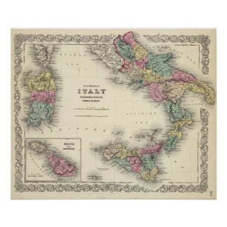 Reino meridional de Italia de Nápoles Póster