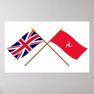 Reino Unido e isla de banderas cruzadas hombre Impresiones