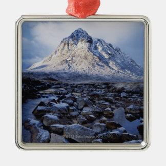 Reino Unido, Escocia, montañas, MOR de Buchaille Adorno Cuadrado Plateado