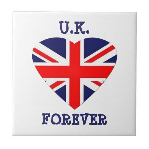 ¡Reino Unido - para siempre! - Corazón de Union Ja Azulejo Cuadrado Pequeño