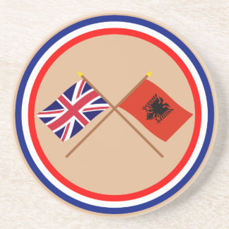 Reino Unido y banderas cruzadas Albania Posavaso Para Bebida