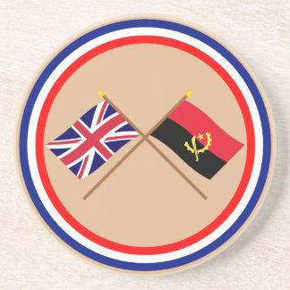 Reino Unido y banderas cruzadas Angola Posavasos Cerveza