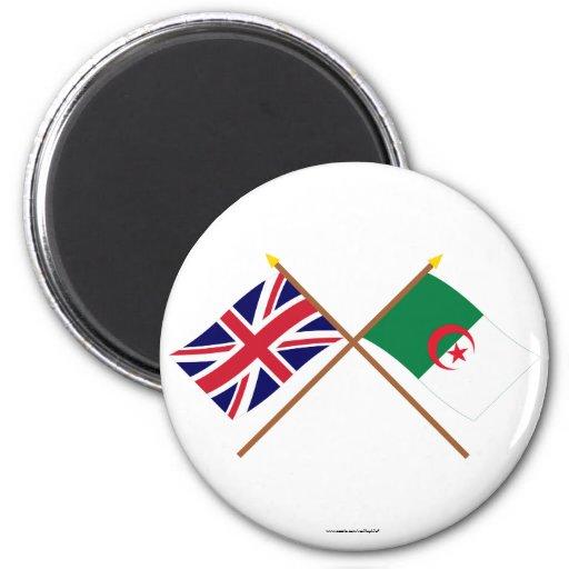 Reino Unido y banderas cruzadas Argelia Imán Redondo 5 Cm