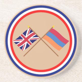 Reino Unido y banderas cruzadas Armenia Posavasos Cerveza