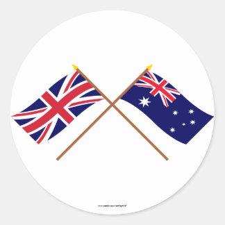 Reino Unido y banderas cruzadas Australia Pegatina Redonda