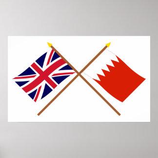 Reino Unido y banderas cruzadas Bahrein Póster