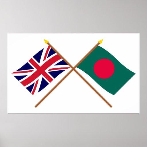 Reino Unido y banderas cruzadas Bangladesh Póster
