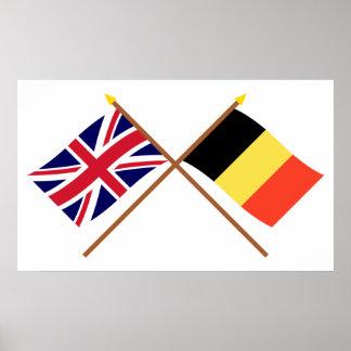 Reino Unido y banderas cruzadas Bélgica Póster