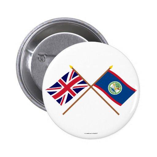 Reino Unido y banderas cruzadas Belice Pins