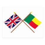 Reino Unido y banderas cruzadas Benin Postal