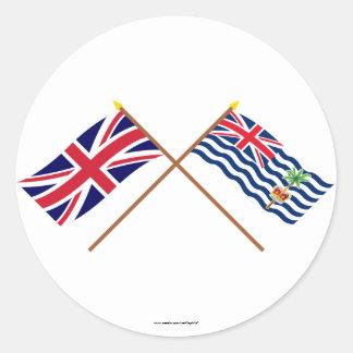 Reino Unido y banderas cruzadas BIOT Pegatina Redonda