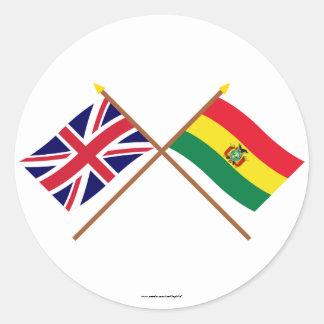 Reino Unido y banderas cruzadas Bolivia Pegatina Redonda