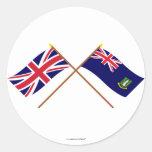 Reino Unido y banderas cruzadas British Virgin Isl Pegatinas Redondas