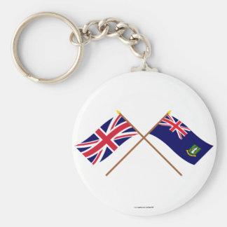 Reino Unido y banderas cruzadas British Virgin Llavero Redondo Tipo Pin