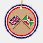 Reino Unido y banderas cruzadas Burundi Ornamentos De Reyes