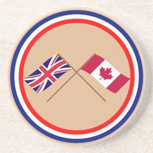 Reino Unido y banderas cruzadas Canadá Posavasos Diseño