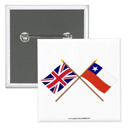 Reino Unido y banderas cruzadas Chile Pin