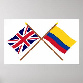 Reino Unido y banderas cruzadas Colombia Póster