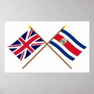 Reino Unido y banderas cruzadas Costa Rica Póster