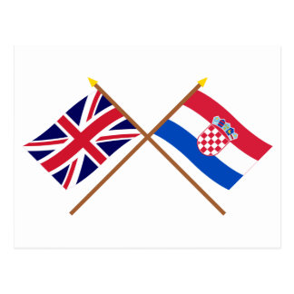 Reino Unido y banderas cruzadas Croacia Postales