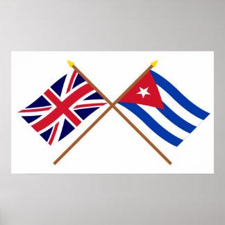 Reino Unido y banderas cruzadas Cuba Póster