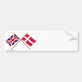 Reino Unido y banderas cruzadas Dinamarca Pegatina Para Auto