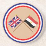 Reino Unido y banderas cruzadas Egipto Posavasos Cerveza