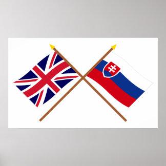 Reino Unido y banderas cruzadas Eslovaquia Póster