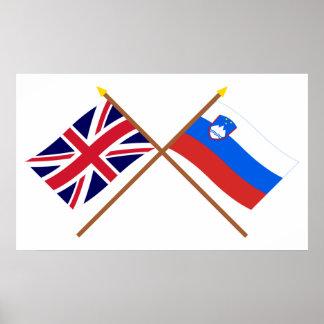 Reino Unido y banderas cruzadas Eslovenia Póster