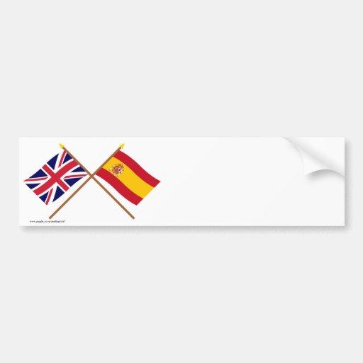 Reino Unido y banderas cruzadas España Pegatina Para Auto
