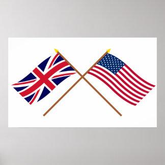 Reino Unido y banderas cruzadas Estados Unidos Impresiones