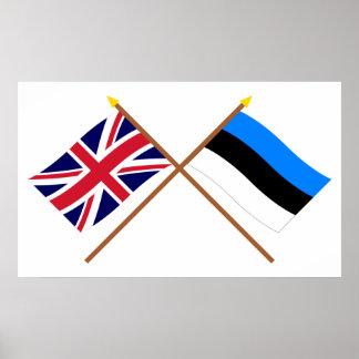 Reino Unido y banderas cruzadas Estonia Póster