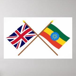 Reino Unido y banderas cruzadas Etiopía Póster