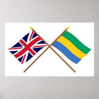 Reino Unido y banderas cruzadas Gabón Póster
