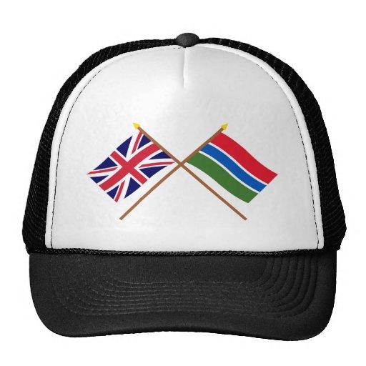 Reino Unido y banderas cruzadas Gambia Gorros