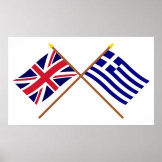 Reino Unido y banderas cruzadas Grecia Póster