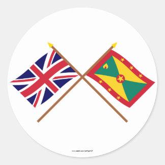 Reino Unido y banderas cruzadas Grenada Pegatina Redonda