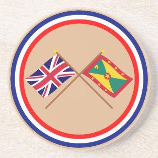Reino Unido y banderas cruzadas Grenada Posavasos Cerveza