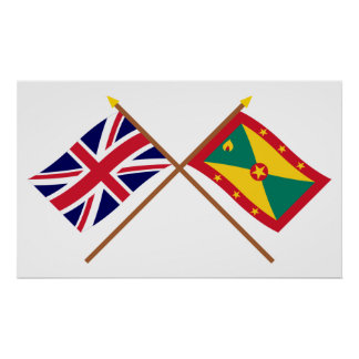 Reino Unido y banderas cruzadas Grenada Póster