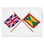 Reino Unido y banderas cruzadas Grenada Tarjeton
