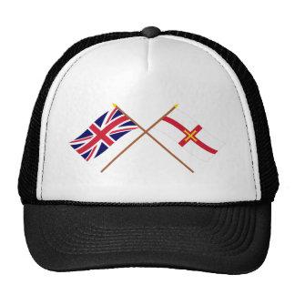 Reino Unido y banderas cruzadas Guernesey Gorros