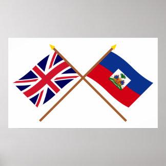 Reino Unido y banderas cruzadas Haití Póster